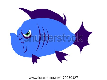 Cute simple cartoon angry piranha fish. Only flat colors isolated on white. Easy editable layered vector illustration. One in the series of fish illustrations.