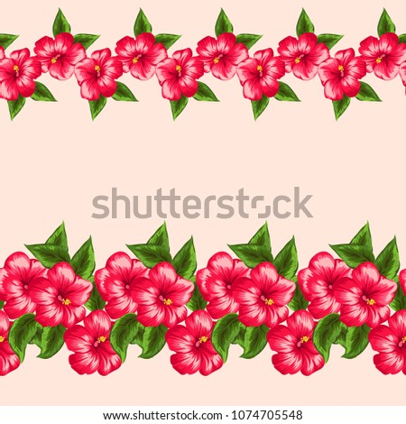 Cute simple floral border. Small flowers of hibiscus. Regular order. Tropical jungle leaves satin print. Repeating background for textile, wallpaper, surface, summer decoration, posters.