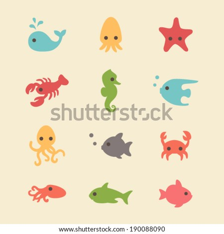 Cute simple sea creatures