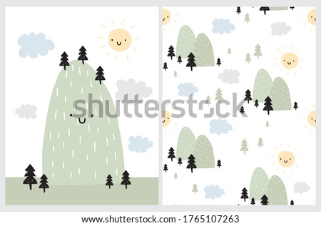 Cute Simple Vector Illustration and Seamless Pattern with Green Moutain, Smiling Sun and Cloudy Sky. Abstract Infantile Style Mountain and Hand Drawn Trees on a White Background. Kids Room Decoration. Stockfoto ©