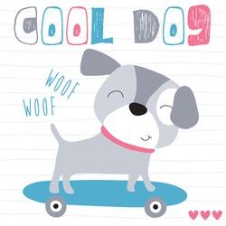 cute skateboarding dog vector illustration