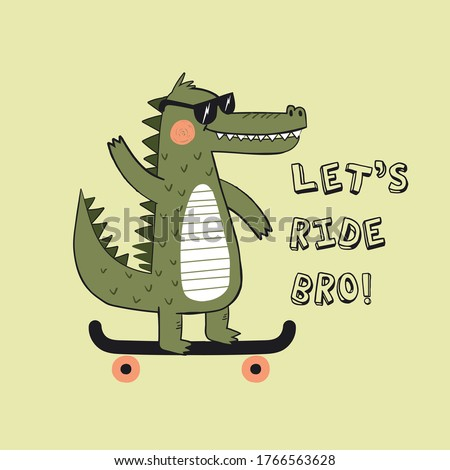 cute skater alligator drawing as vector