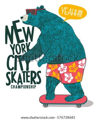 cute skater bear vector design