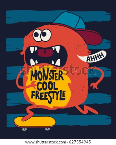 cute skater monster  vector