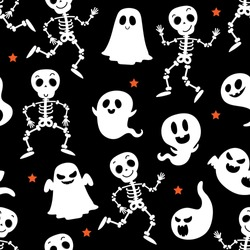 Cute skeleton and scary ghost seamless pattern. Halloween holidays cartoon character background. -Vector