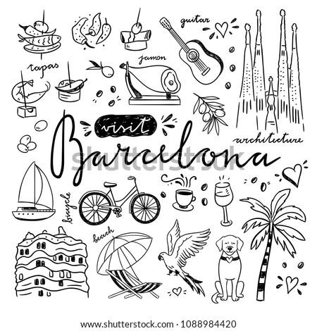 cute sketch symbols of