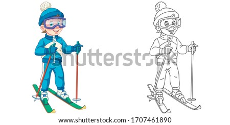 Cute skier, boy ski running. Coloring page and colorful clipart character. Cartoon design for t shirt print, icon, logo, label, patch or sticker. Vector illustration. Stock fotó ©