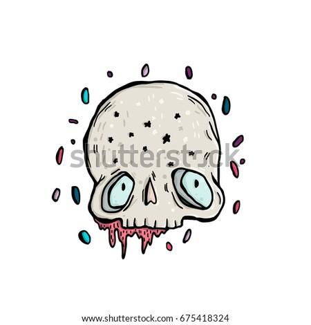 cute skull in drops skull in