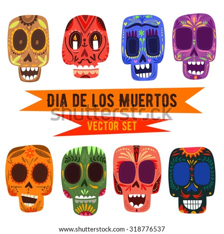 cute skulls set mexican day of