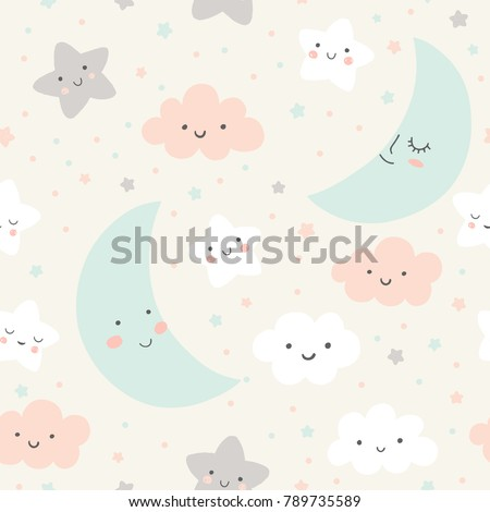 Cute sky pattern. Seamless vector design with smiling, sleeping moon, stars and clouds. Baby illustration.