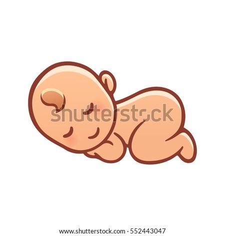 Cute sleeping baby drawing. Simple cartoon vector illustration.