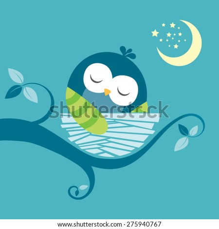 cute sleeping baby owl vector