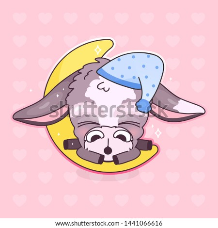 Cute sleeping donkey kawaii cartoon vector character. Adorable and funny sleeping animal in night cap isolated sticker, patch. Bedtime, night time. Anime baby mule, burro emoji on pink background
