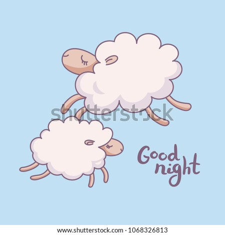 Cute sleeping sheep vector illustration. Poster about sleep, dream or relax. Hand draw icon of two juming sheep. Concept of trying to sleep, counting the sheep, insomnia, sleep disorders, baby sleep.