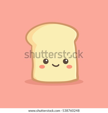 Cute Slice Loaf Bread Vector Illustration Cartoon Character