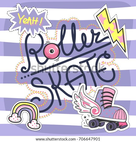 Cute slogan graphic t-shirt with patch roller skates on striped background illustration vector.