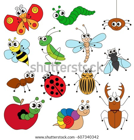 cute small insects elements set