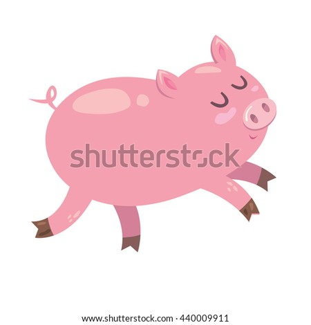 cute small pink piglet the pig