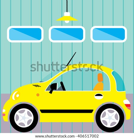 Cute small woman car in garage.  New car parking. Vector illustration.