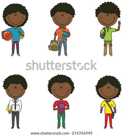 Cute smart African-American school boys with different objects