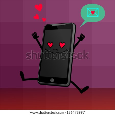 Cute Smart Phone Character jumps for joy as he receives a message of love