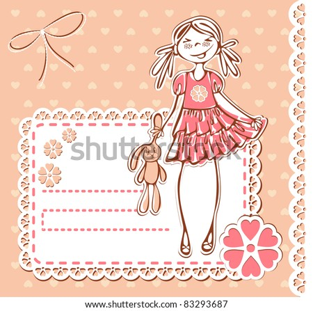 Cute smile girl frame. Baby Girl Card with lace Photo Frame and place for your text in vector