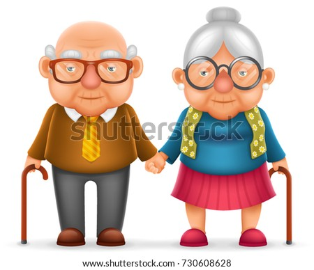 Cute Smile Happy Elderly Couple Old Man Love Woman Grandfather Grandmother 3d Realistic Cartoon Family Character Design Isolated Vector Illustration