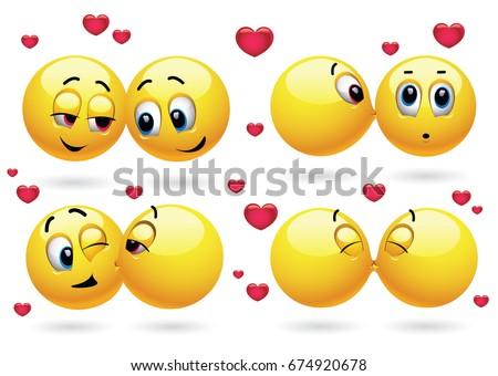 cute valentine emoji of hearts vector download free vector art