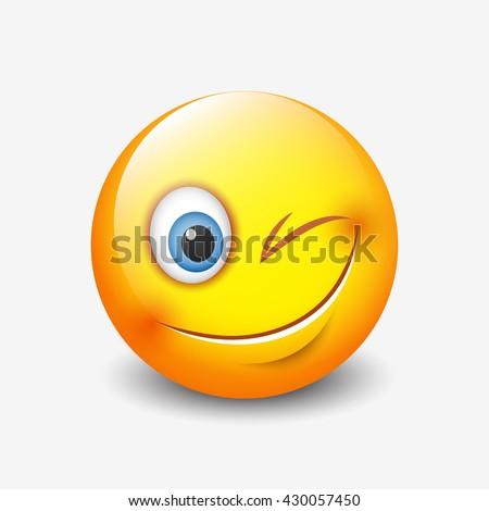 Cute smiling and winking emoticon, emoji, smiley - vector illustration