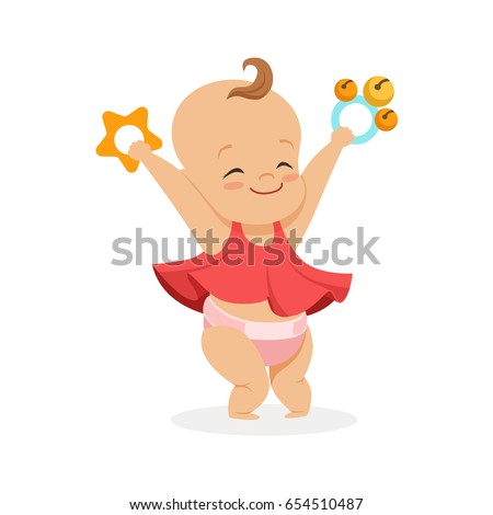 cute smiling baby girl playing