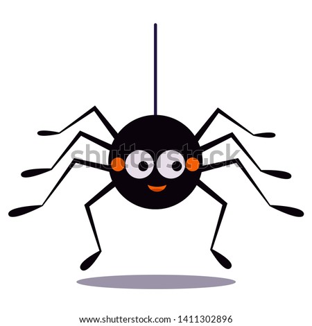 Cute smiling black spider hanging on a string of cobwebs icon isolated on white background. Animal character for the elements of designs to celebrate Halloween party. Flat design vector illustration. Stock photo ©