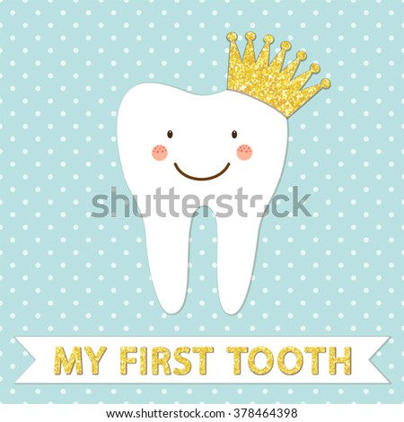 Royalty free cute smiling cartoon character of first for Baby first tooth decoration
