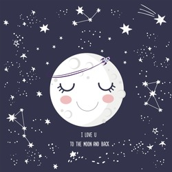 Cute smiling cartoon sleeping moon with closed eyes, craters, stars, rocket, lettering I love you to the moon and back. Greeting card, good night, sweet dreams, outer space with falling stars