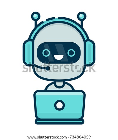 Cute smiling chat bot working in headphones with mic behind laptop. Vector flat modern line style cartoon character illustration icon design. Isolated on white background. Chat bot robot concept