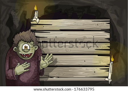 Cute smiling creature with one eye pointing at a wooden sign in a cave light by candles, vector illustration Zdjęcia stock ©