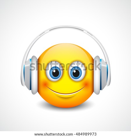 Stock Photo Cute smiling emoticon with white headset, emoji, smiley - vector illustration