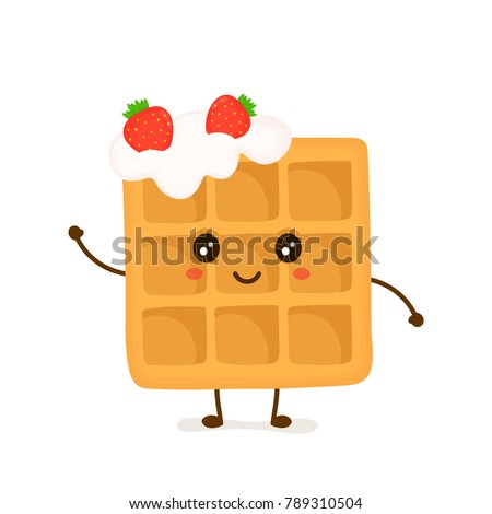 Cute smiling funny viennese waffle with whipped cream and strawberries. Vector flat cartoon illustration character icon design. Isolated on white background.Fast food waffle dessert concept
