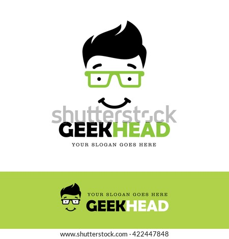 cute smiling geek face logo in
