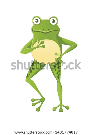 cute smiling green frog