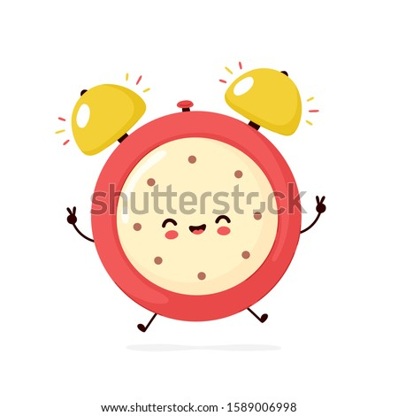 Cute smiling happy alarm time clock. Vector flat cartoon character illustration icon design.Isolated on white background. Alarm time clock character concept