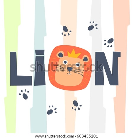 Stock Photo Cute Smiling Happy Lion with foot print and colorful background, King of the jungle. Tee print, shirt, embroidery, mug, bag, lunchbox, wallpaper, wrapper, poster, banner flat design for kids