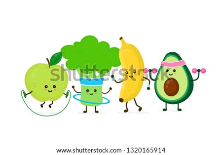 Cute smiling happy strong avocado make gym with dumbbells,apple jump with rope,banana running,broccoli with hula hoop.Vector flat cartoon character illustration icon.Gym,fitness nutrition concept