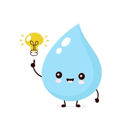 Cute smiling happy water drop with light bulb. Vector flat cartoon character illustration.Isolated on white background.Water drop character concept