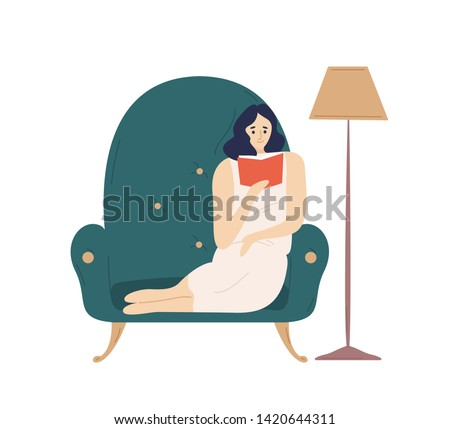 Cute smiling lady sitting in comfy armchair and reading fiction book. Adorable young woman spending weekend at home. Leisure activity, repose and relaxation. Flat cartoon colorful vector illustration.