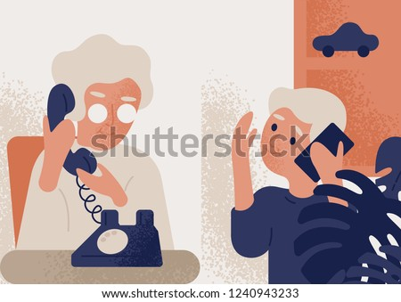Cute smiling old lady talking on phone to little boy. Granny and grandson communicating through telephone. Conversation or dialog between grandmother and grandchild. Flat colorful vector illustration.