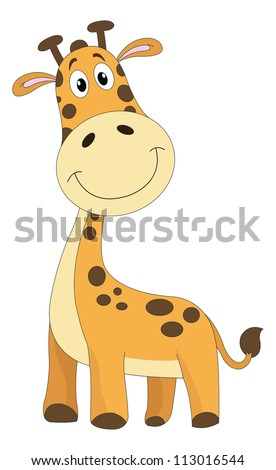 Cute smiling orange giraffe with brown spots, vector illustration