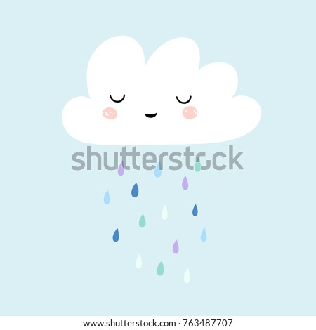cute smiling rain cloud with