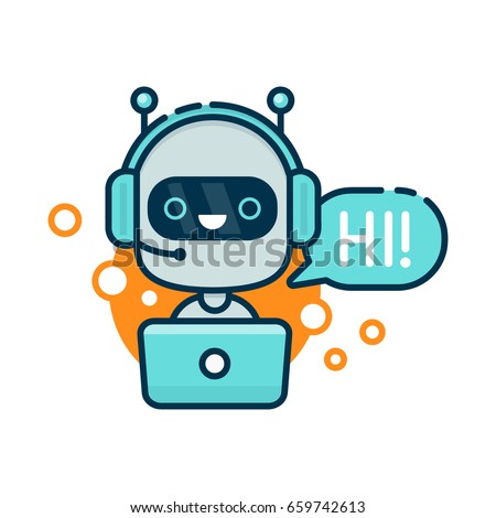 Cute smiling robot,chat bot say hi.Vector modern outline flat cartoon character illustration.Isolated on white background.Speak bubble.Voice support service bot,virtual online help support concept