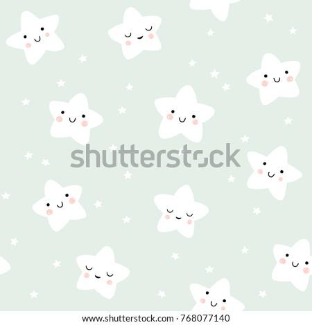 cute smiling stars pattern
