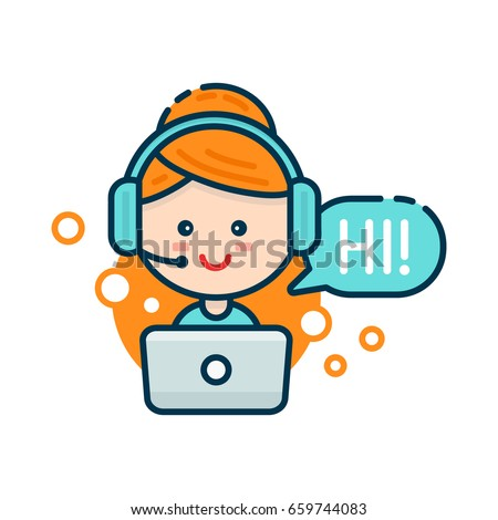 Cute smiling woman in call center. Vector modern line outline flat style cartoon character illustration. Isolated on white background.Speak bubble. Voice support, virtual online help support concept